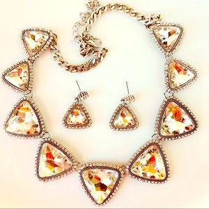 Jewelry - Rhinestone Silver tone Triangle Necklace Earrings